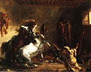 Eugene Delacroix Arabian Horses Fighting in a Stable China oil painting reproduction