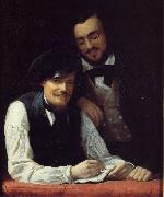 Franz Xaver Winterhalter Self Portrait of the Artist with his Brother, Hermann China oil painting reproduction