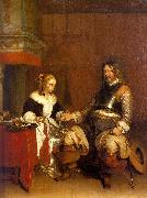 Gerard Ter Borch Soldier Offering a Young Woman Coins China oil painting reproduction