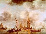 Jan van de Cappelle A Dutch Yacht and Many Small Vessels at Anchor China oil painting reproduction