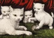 Currier and Ives Three little white kitties China oil painting reproduction