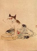 Hiroshige, Ando Cat Bathing China oil painting reproduction