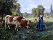 unknow artist Cow and Woman China oil painting reproduction