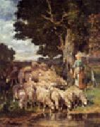 unknow artist Sheep and Sheepherder China oil painting reproduction