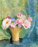 Hills, Laura Coombs Basket of Flowers China oil painting reproduction