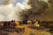 Lotz, Karoly Stud in a Thunderstorm China oil painting reproduction