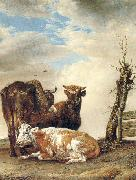 POTTER, Paulus Two Cows a Young Bull beside a Fence in a Meadow China oil painting reproduction