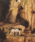 Moritz von Schwind A Hermit Leading Horses to the Trough (mk22) China oil painting reproduction