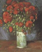 Vincent Van Gogh Vase wtih Red Poppies (nn040 China oil painting reproduction