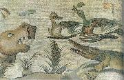 unknow artist Nilotic mosaic with hippopotamus,crocodile and ducks China oil painting reproduction