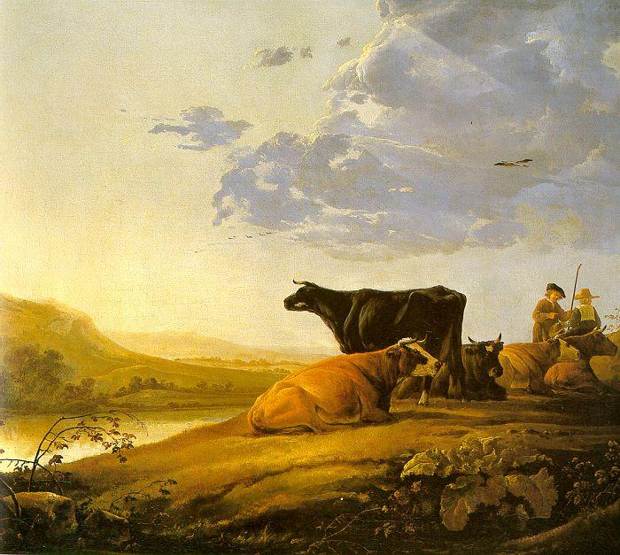 Aelbert Cuyp Young Herdsman with Cows by a River