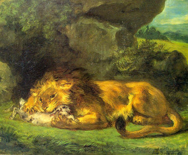 Eugene Delacroix Lion with a Rabbit