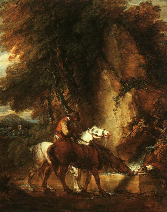 Thomas Gainsborough Wooded Landscape with Mounted Drover